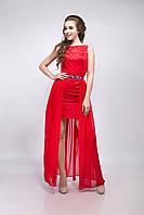 Платье женское коктейльное гипюр со шлейфом  красное 48, M, красное
