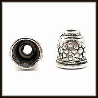 """Колпачок бижутерный """"серебро""""  (диам. 1 см, высота 1,1 см) 12 шт в уп."""