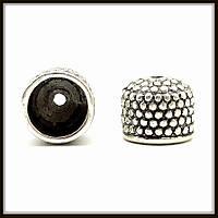 """Колпачок бижутерный """"серебро""""  (диам. 1 см, высота 0,6 см) 10 шт в уп."""