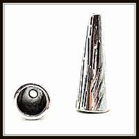 """Колпачок бижутерный """"серебро""""  (диам. 1 см, высота 2,8 см) 5 шт в уп."""