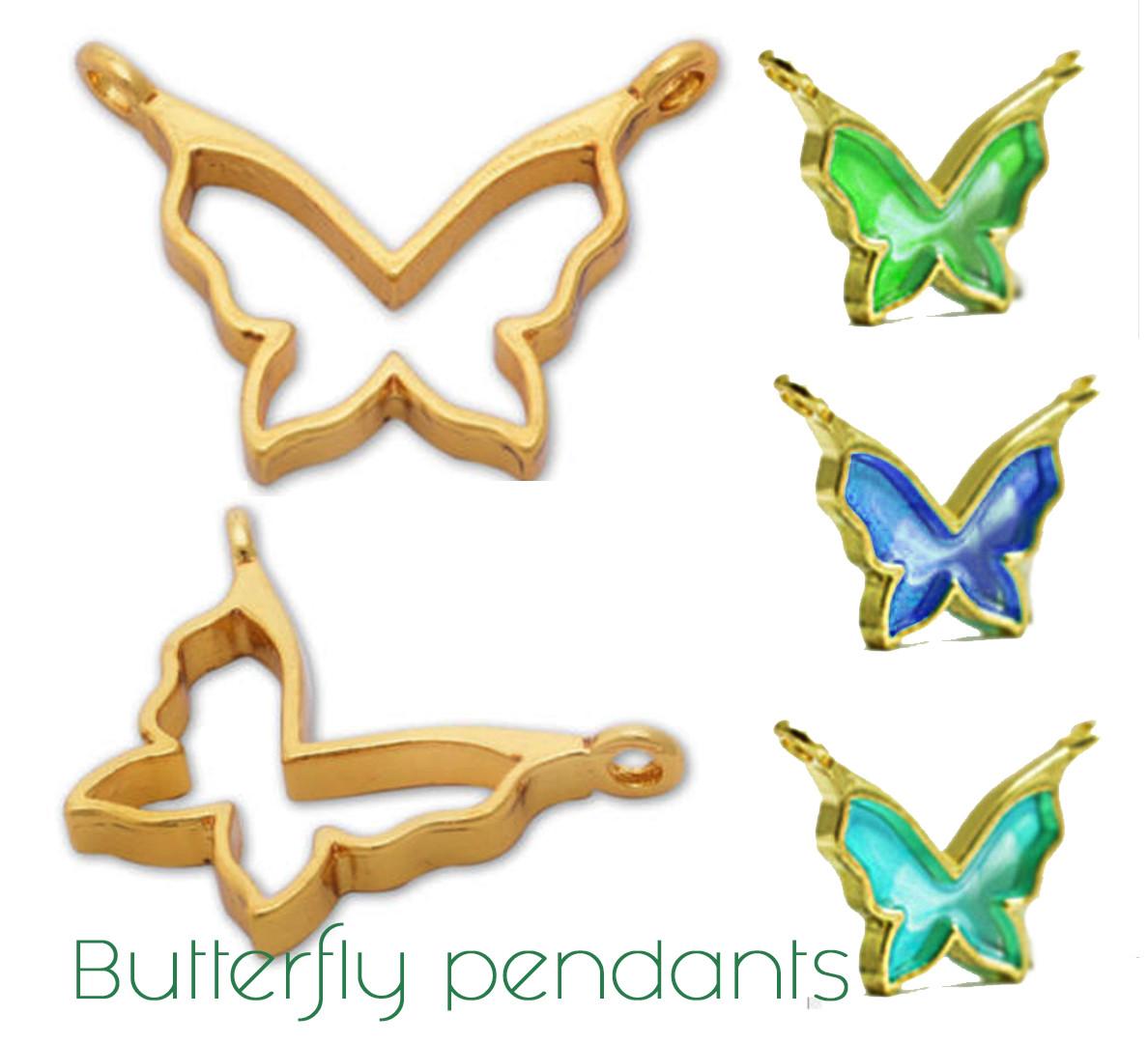 Подвеска Бабочка Butterfly металл, глубокая, под заливку смолой, цвет золото, 1 шт