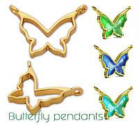 Подвеска Бабочка Butterfly металл, глубокая, под заливку смолой, цвет серебро, 1 шт