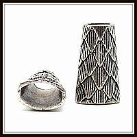 "Колпачок бижутерный ""серебро""  (1,3х0,8х2,2 см) 5 шт в уп."