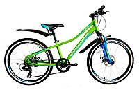 "Подростковый велосипед CYCLONE DREAM 24"", рама 12"", зелено-синий"