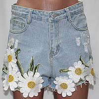 Шорты джинсовые молодежные женские, Ромашки, размер L