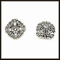 """Колпачок бижутерный """"серебро""""  (диам. 1,9 см, высота 1 см) 5 шт в уп."""