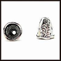"""Колпачок бижутерный """"серебро""""  (диам. 0,9 см, высота 1 см) 12 шт в уп."""