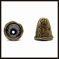 """Колпачок бижутерный """"бронза""""  (диам. 0,9 см, высота 1 см) 12 шт в уп."""