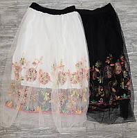 Юбка черная и белая шифоновая с цветами 8033