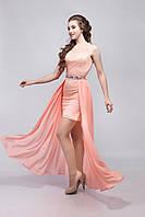 Платье женское коктейльное гипюр со шлейфом персиковое 40, L, Персиковый