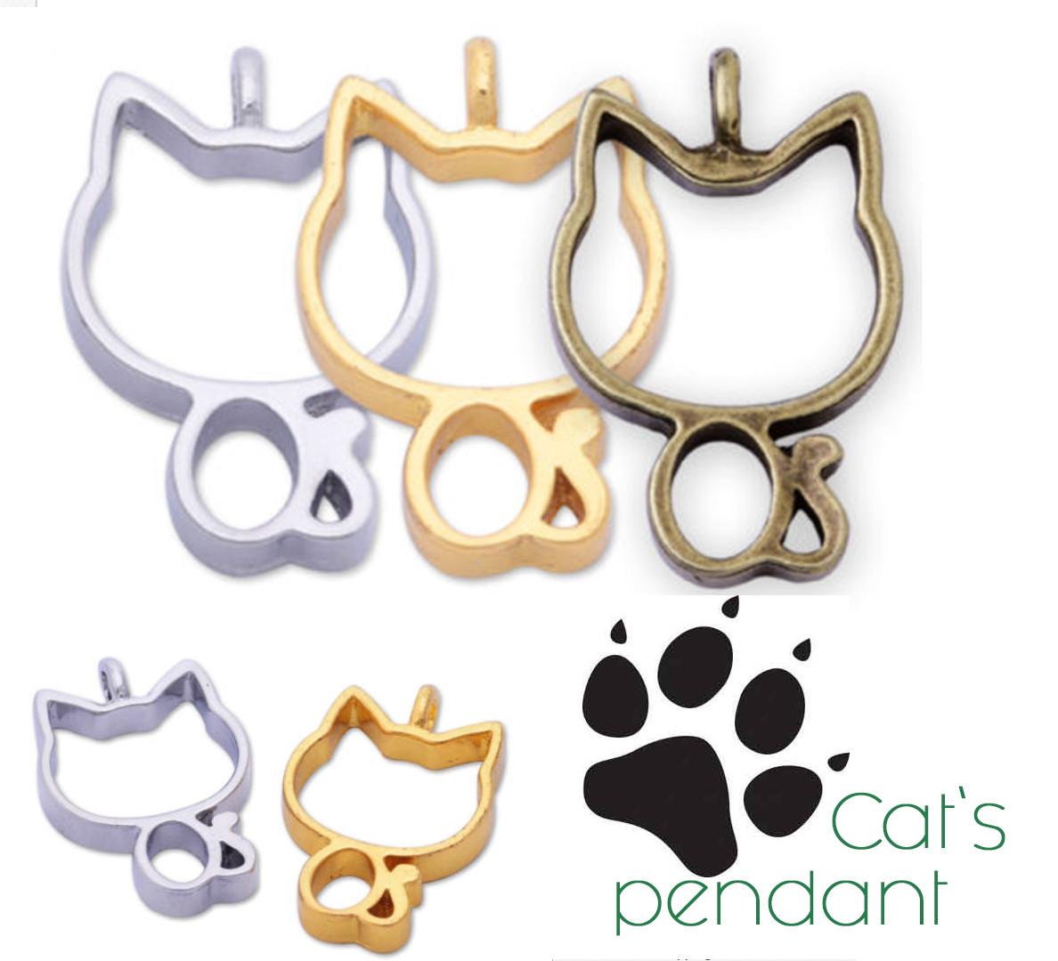 Подвеска Cat`s Pendant Котик, металл, цвет золото, глубокая, под заливку смолой