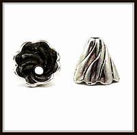 """Колпачок бижутерный """"серебро""""  (диам. 1,3 см, высота 1,2 см) 8 шт в уп."""