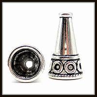 """Колпачок бижутерный """"серебро""""  (диам. 1,3 см, высота 2,3 см) 4 шт в уп."""