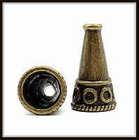 """Колпачок бижутерный """"бронза""""  (диам. 1,3 см, высота 2,3 см) 4 шт в уп."""