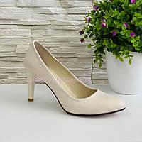 Женские классические кожаные бежевые туфли на шпильке!, фото 1