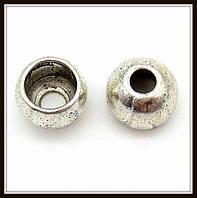 """Колпачок бижутерный """"серебро""""  (диам. 1 см, высота 0,8 см) 8 шт в уп."""