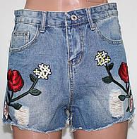 Шорты джинсовые молодежные женские, Розы, размер М, XL, фото 1