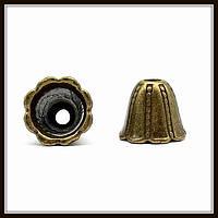"""Колпачок бижутерный """"бронза""""  (диам. 1,2 см, высота 1 см) 6 шт в уп."""
