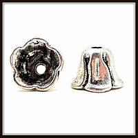 """Колпачок бижутерный """"серебро""""  (диам. 1,2 см, высота 0,8 см) 10 шт в уп."""