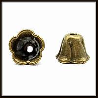"""Колпачок бижутерный """"бронза""""  (диам. 1,2 см, высота 0,8 см) 10 шт в уп."""