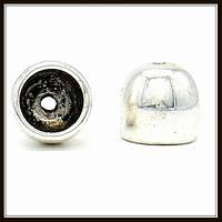 """Колпачок бижутерный """"серебро""""  (диам. 1,1 см, высота 1 см) 6 шт в уп."""