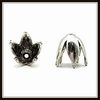 """Колпачок бижутерный """"серебро""""  (диам. 1,5 см, высота 1,6 см) 5 шт в уп."""