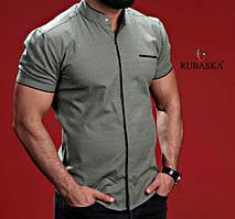 Оригинальная мужская рубашка на короткий рукав зеленого цвета