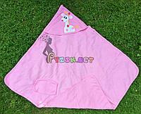Полотенце-уголок с капюшоном пищалкой+варежка Bebellove розовое