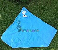 Полотенце-уголок с капюшоном пищалкой+варежка Bebellove голубое