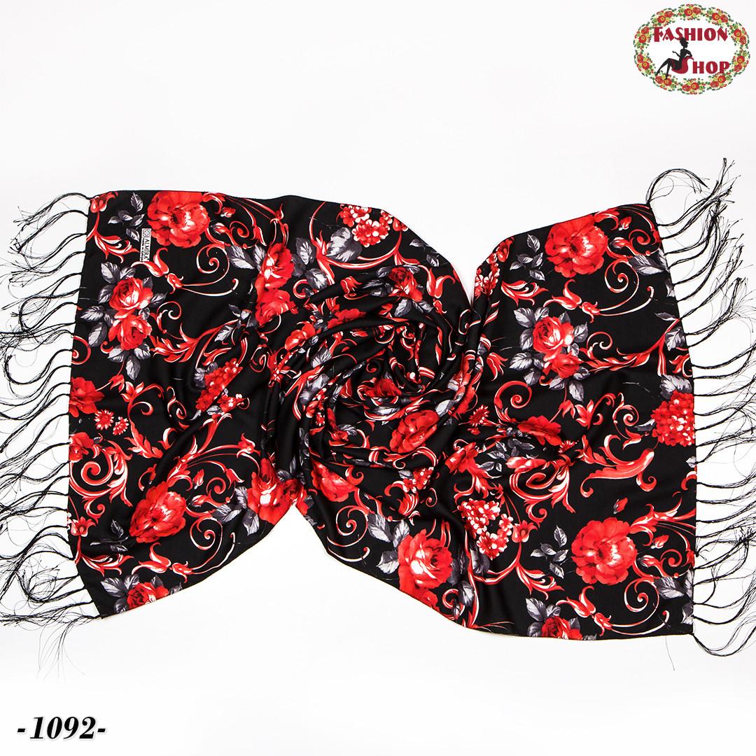 Шерстяной шарф Красные цветы
