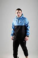 Анорак Nike / Ветровка Nike / голубой / черный