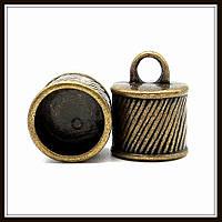 """Колпачок бижутерный """"бронза""""  (диам. 1,2 см, высота 1,5 см) 4 шт в уп."""