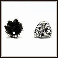 """Колпачок бижутерный """"серебро""""  (диам. 1,9 см, высота 1,5 см) 2 шт в уп."""