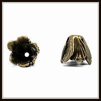 """Колпачок бижутерный """"бронза""""  (диам. 1,9 см, высота 1,5 см) 2 шт в уп."""