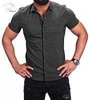 Мужская рубашка на короткий рукав цвета хаки