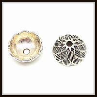 """Колпачок бижутерный """"серебро""""  (диам. 1,5 см, высота 0,6 см) 12 шт в уп."""