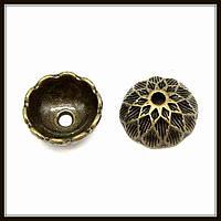 """Колпачок бижутерный """"бронза""""  (диам. 1,5 см, высота 0,6 см) 12 шт в уп."""