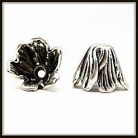 """Колпачок бижутерный """"серебро""""  (диам. 2,8 см, высота 1,4 см) 3 шт в уп."""