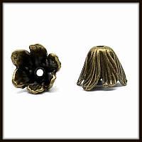 """Колпачок бижутерный """"бронза""""  (диам. 2,8 см, высота 1,4 см) 3 шт в уп."""