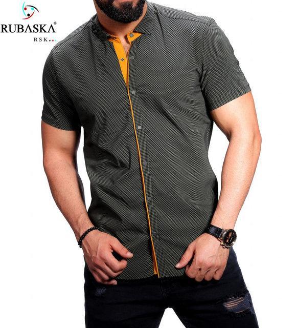 Мужская рубашка на короткий рукав цвета хаки с желтой кайомкой