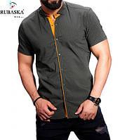 Мужская рубашка на короткий рукав цвета хаки с желтой кайомкой, фото 1