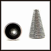 """Колпачок бижутерный """"серебро""""  (диам. 1,5 см, высота 2,5 см) 2 шт в уп."""