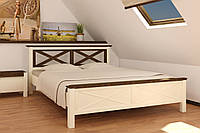 Кровать деревянная двуспальная Нормандия 1,6 м ваниль/темный орех