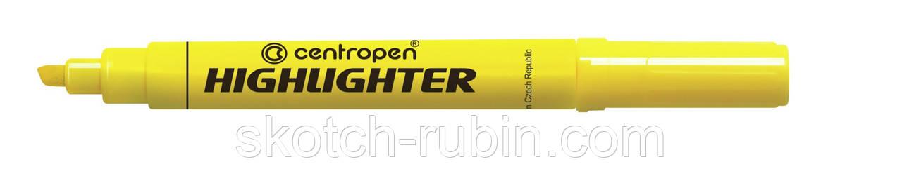 Маркер Centropen Fax 8552 клиновидный желтый
