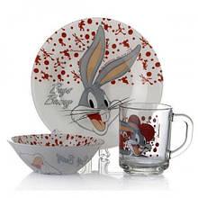 Набор детский Pasabahce (10327+10414+55029) Bugs Bunny 95827
