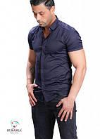 Модная однотонная синяя мужская рубашка на короткий рукав, фото 1