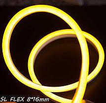 Светодиодный неон SL FLEX (Неон Флекс, FlexNeon) 8*16 мм. 120-2835 220V Желтый  , фото 2