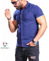 Классная мужская рубашка на короткий рукав синего цвета, фото 1