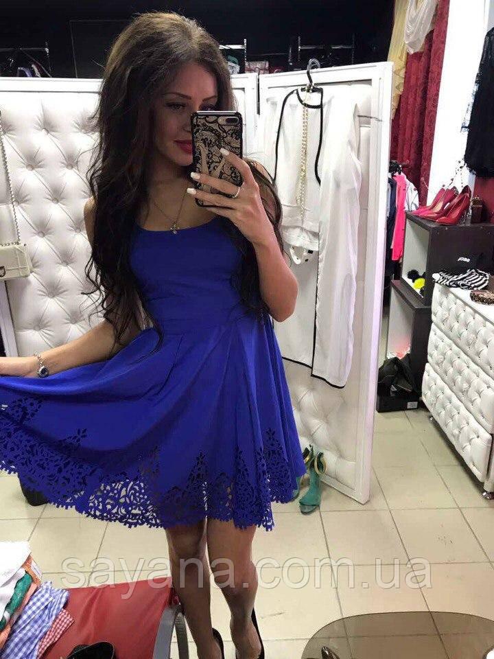Женское платье с перфорацией в расцветках.  МД-14-0617