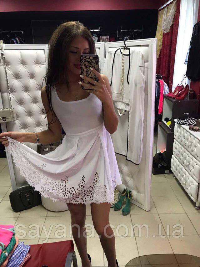 женское платье перфорированное